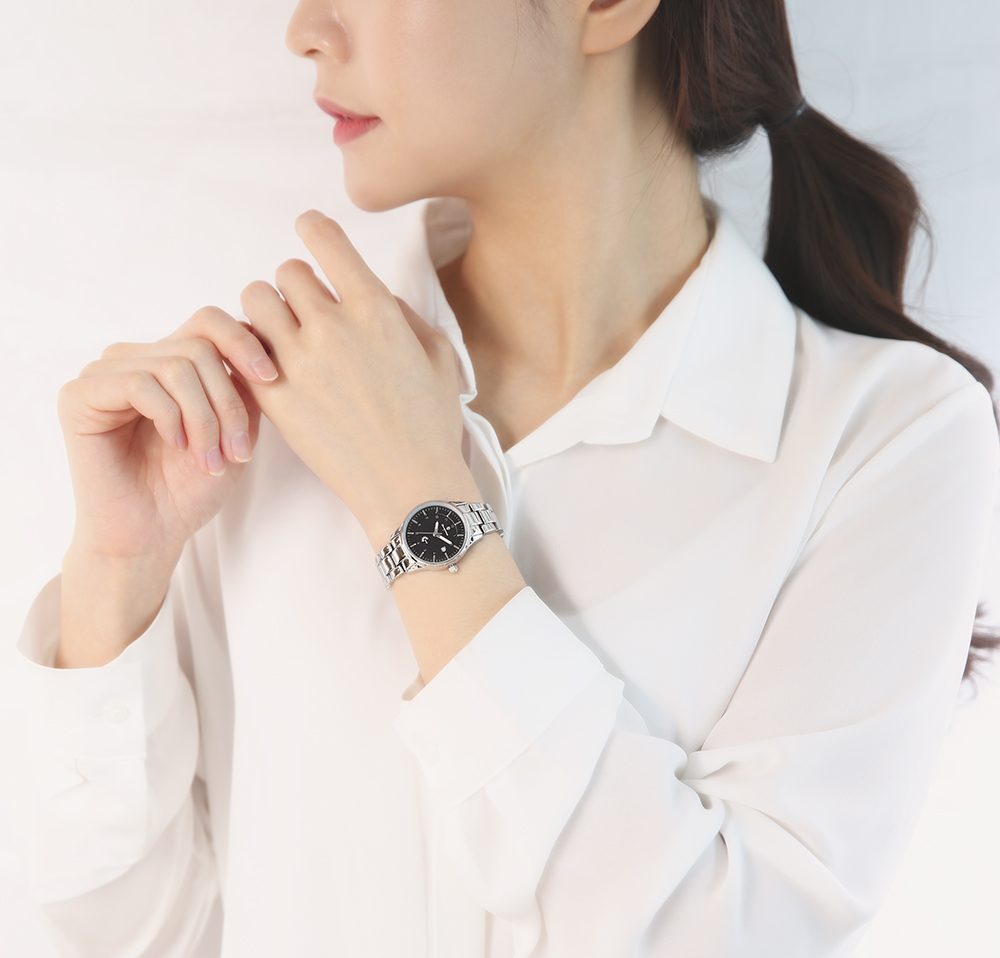 오에스티(OST) [Timepieces] 블랙솔라 실버 여성용 커플 메탈시계 OTC220501TBS
