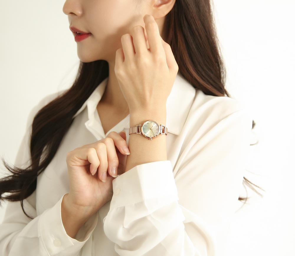 오에스티(OST) 꿈과 행운의 응원 레몬민트 로즈골드 여성용 메쉬시계 OTW120811TPP